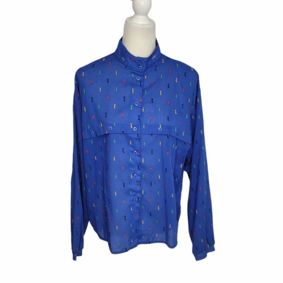 VINTAGE 70s embroidered rainbow button up shirt